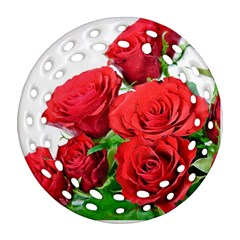 A Bouquet Of Roses On A White Background Ornament (round Filigree)