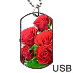 A Bouquet Of Roses On A White Background Dog Tag Usb Flash (one Side)