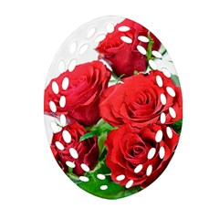 A Bouquet Of Roses On A White Background Ornament (oval Filigree)