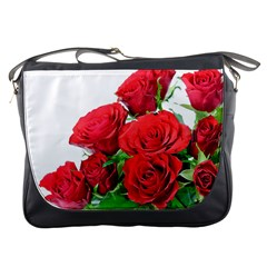A Bouquet Of Roses On A White Background Messenger Bags