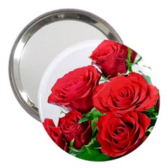 A Bouquet Of Roses On A White Background 3  Handbag Mirrors