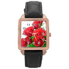 A Bouquet Of Roses On A White Background Rose Gold Leather Watch