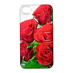 A Bouquet Of Roses On A White Background Apple Iphone 4/4s Hardshell Case With Stand