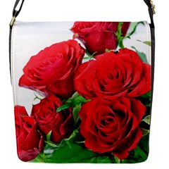 A Bouquet Of Roses On A White Background Flap Messenger Bag (s)