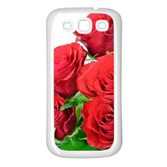 A Bouquet Of Roses On A White Background Samsung Galaxy S3 Back Case (white)