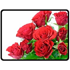 A Bouquet Of Roses On A White Background Double Sided Fleece Blanket (large)
