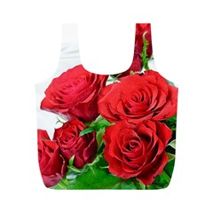 A Bouquet Of Roses On A White Background Full Print Recycle Bags (m)