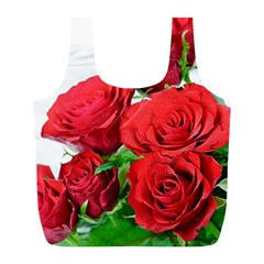 A Bouquet Of Roses On A White Background Full Print Recycle Bags (l)