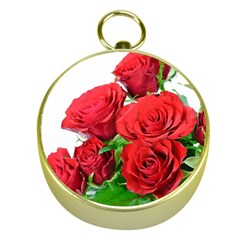 A Bouquet Of Roses On A White Background Gold Compasses