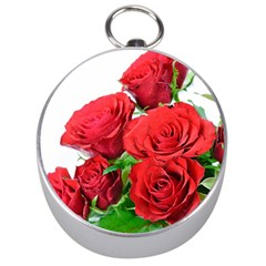 A Bouquet Of Roses On A White Background Silver Compasses