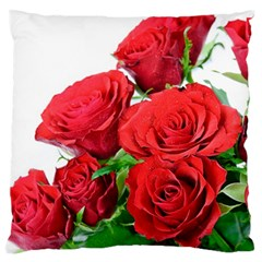 A Bouquet Of Roses On A White Background Large Flano Cushion Case (one Side)