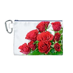 A Bouquet Of Roses On A White Background Canvas Cosmetic Bag (m)