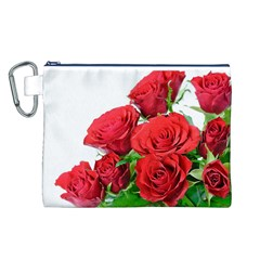 A Bouquet Of Roses On A White Background Canvas Cosmetic Bag (l)