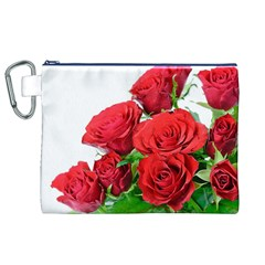 A Bouquet Of Roses On A White Background Canvas Cosmetic Bag (xl)