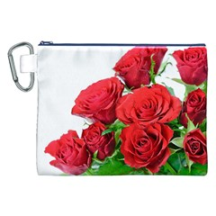 A Bouquet Of Roses On A White Background Canvas Cosmetic Bag (xxl)
