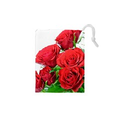 A Bouquet Of Roses On A White Background Drawstring Pouches (xs)