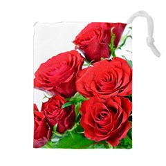 A Bouquet Of Roses On A White Background Drawstring Pouches (extra Large)