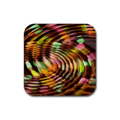 Wave Rings Circle Abstract Rubber Coaster (square)