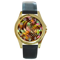 Wave Rings Circle Abstract Round Gold Metal Watch