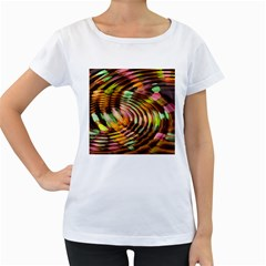 Wave Rings Circle Abstract Women s Loose Fit T Shirt (white)
