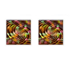 Wave Rings Circle Abstract Cufflinks (square)