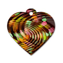 Wave Rings Circle Abstract Dog Tag Heart (two Sides)