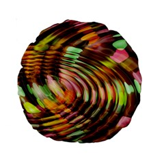 Wave Rings Circle Abstract Standard 15  Premium Round Cushions