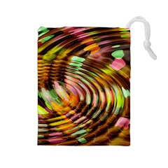 Wave Rings Circle Abstract Drawstring Pouches (large)