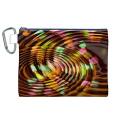 Wave Rings Circle Abstract Canvas Cosmetic Bag (xl)