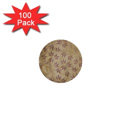 Parchment Paper Old Leaves Leaf 1  Mini Buttons (100 Pack)