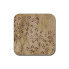 Parchment Paper Old Leaves Leaf Rubber Coaster (square)