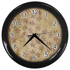 Parchment Paper Old Leaves Leaf Wall Clocks (black)