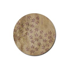 Parchment Paper Old Leaves Leaf Rubber Round Coaster (4 Pack)