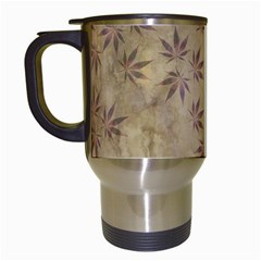 Parchment Paper Old Leaves Leaf Travel Mugs (white)