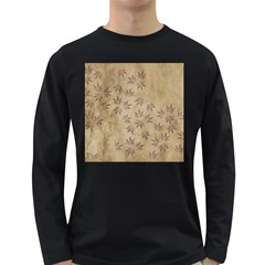 Parchment Paper Old Leaves Leaf Long Sleeve Dark T Shirts