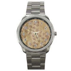 Parchment Paper Old Leaves Leaf Sport Metal Watch