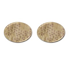 Parchment Paper Old Leaves Leaf Cufflinks (oval)