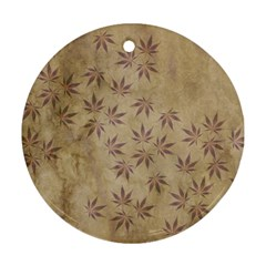 Parchment Paper Old Leaves Leaf Round Ornament (two Sides)