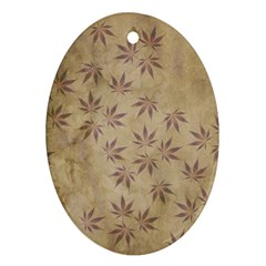 Parchment Paper Old Leaves Leaf Oval Ornament (two Sides)