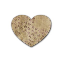Parchment Paper Old Leaves Leaf Heart Coaster (4 Pack)