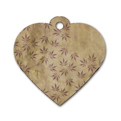 Parchment Paper Old Leaves Leaf Dog Tag Heart (two Sides)