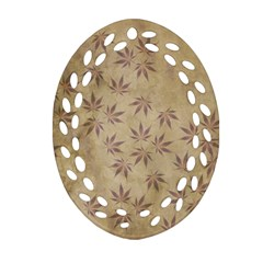 Parchment Paper Old Leaves Leaf Oval Filigree Ornament (two Sides)