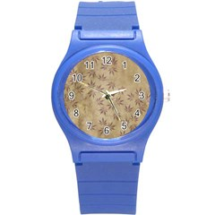 Parchment Paper Old Leaves Leaf Round Plastic Sport Watch (s)