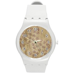 Parchment Paper Old Leaves Leaf Round Plastic Sport Watch (m)
