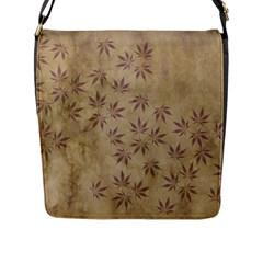 Parchment Paper Old Leaves Leaf Flap Messenger Bag (l)