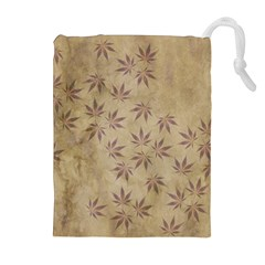 Parchment Paper Old Leaves Leaf Drawstring Pouches (extra Large)