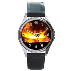 Fire Rays Mystical Burn Atmosphere Round Metal Watch
