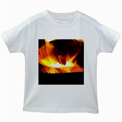 Fire Rays Mystical Burn Atmosphere Kids White T Shirts