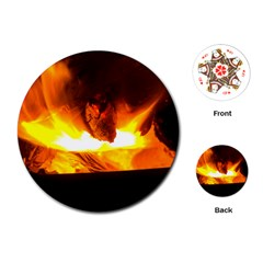 Fire Rays Mystical Burn Atmosphere Playing Cards (round)