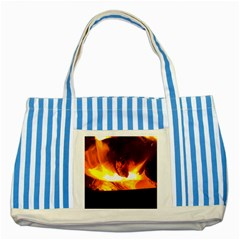 Fire Rays Mystical Burn Atmosphere Striped Blue Tote Bag